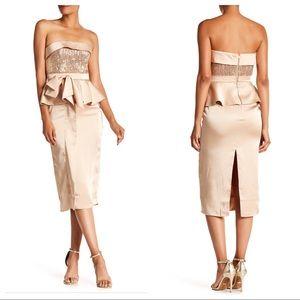 Isabel Garcia Strapless Peplum Midi Dress
